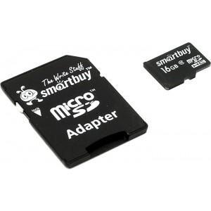 Карта памяти SMARTBUY MICROSDHC (CLASS 10) 16 ГБ + SD АДАПТЕР