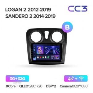 Штатная автомагнитола на Android TEYES CC3 для Renault Logan 2 2012-2019, Sandero 2 2014-2019 (версия B)