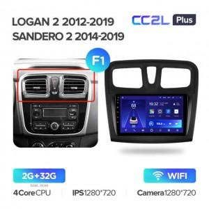 Штатная автомагнитола на Android TEYES CC2L Plus для Renault Logan 2 2012-2019, Sandero 2 2014-2019 (Версия F1)