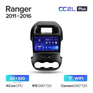 Штатная автомагнитола на Android TEYES CC2L Plus для Ford Ranger 2011-2016 (Правый руль)