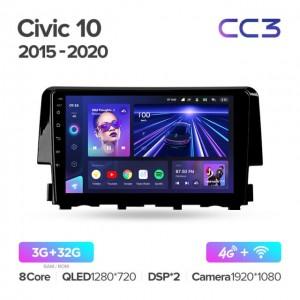 Штатная автомагнитола на Android TEYES CC3 для Honda Civic 10 FC FK 2015-2020