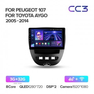 Штатная автомагнитола на Android TEYES CC3 для Peugeot 107 2005-2014