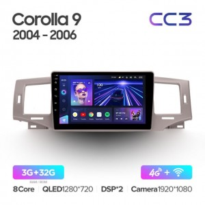 Штатная автомагнитола на Android TEYES CC3 для Toyota Corolla 9 E120 2004-2006