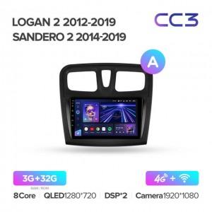 Штатная автомагнитола на Android TEYES CC3 для Renault Logan 2 2012-2019, Sandero 2 2014-2019 (версия А)
