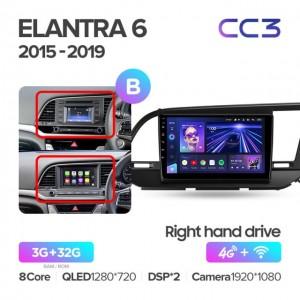 Штатная автомагнитола на Android TEYES CC3 для Hyundai Elantra 6 2015-2019 правый руль (Версия B)