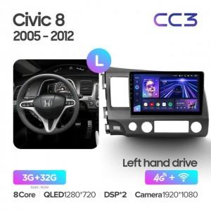Штатная автомагнитола на Android TEYES CC3 для Honda Civic 8 FK FN FD 2005-2012