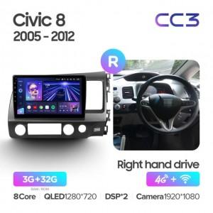 Штатная автомагнитола на Android TEYES CC3 для Honda Civic 8 FK FN FD 2005-2012 (правый руль)