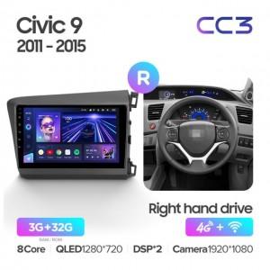 Штатная автомагнитола на Android TEYES CC3 для Honda Civic 9 FB FK FD 2011-2015 правый руль