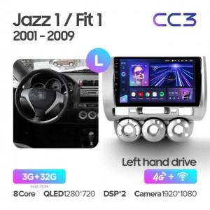 Штатная автомагнитола на Android TEYES CC3 для Honda Jazz 1 GD 2001-2008, Fit 2001-2009