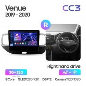 Штатная автомагнитола на Android TEYES CC3 для Hyundai Venue 2019-2020 правый руль