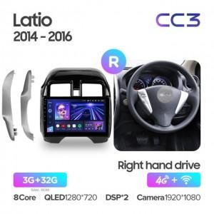 Штатная автомагнитола на Android TEYES CC3 для Nissan Latio N17 2014-2016 (правый руль)