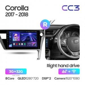 Штатная автомагнитола на Android TEYES CC3 для Toyota Corolla 11 2017-2018 (Правый руль)