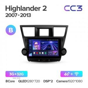 Штатная автомагнитола на Android TEYES CC3 для Toyota Highlander 2 XU40 2007-2013 (Версия B)