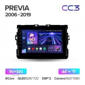 Штатная автомагнитола на Android TEYES CC3 для Toyota Previa XR50 2006-2019