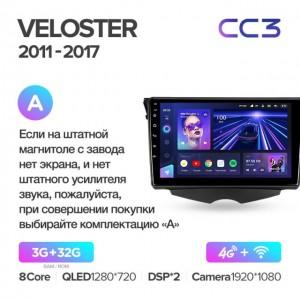 Штатная автомагнитола на Android TEYES CC3 для Hyundai Veloster FS 2011-2017 (Версия А)