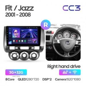 Штатная автомагнитола на Android TEYES CC3 для Honda Fit GD 2001-2008 (правый руль)