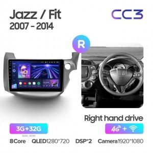 Штатная автомагнитола на Android TEYES CC3 для Honda Jazz GG 2008-2014, Fit GE GP GE 2007-2014 (правый руль)